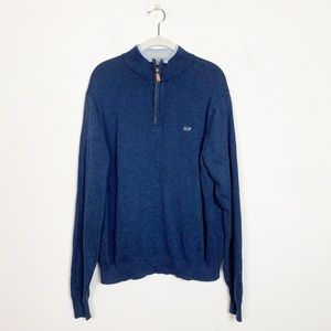 Vineyard Vines Prouts Neck 1/4 Zip Sweater Blue